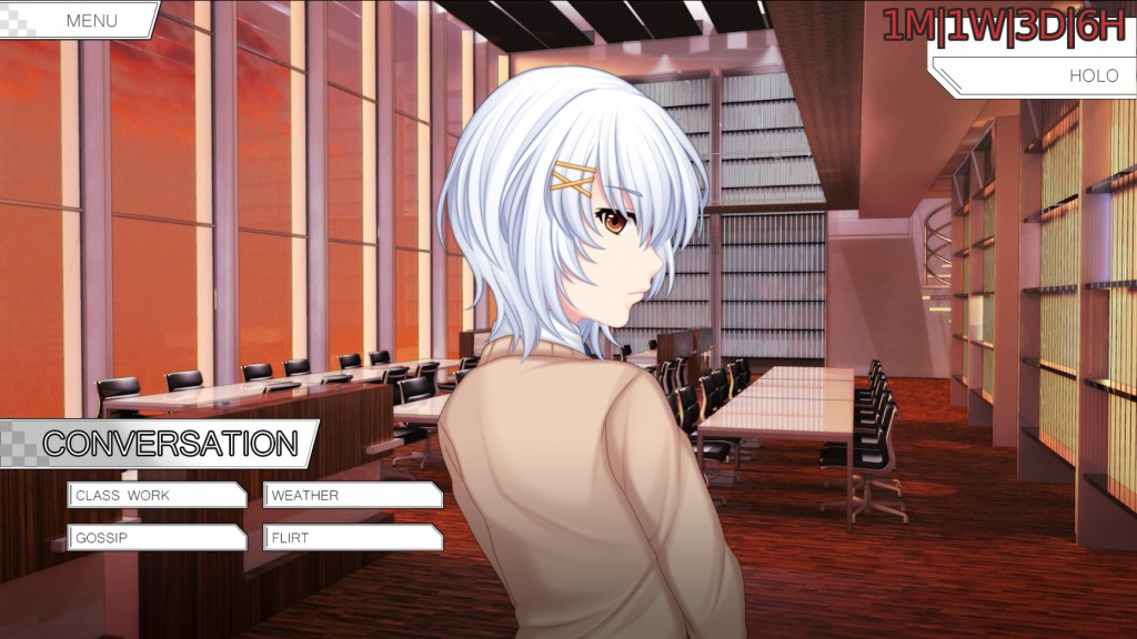 The controls and interaction are similar to other visual novels with the exception of the player's holo in the upper right corner. This gives, once activated, a nice overview of the players current progress.